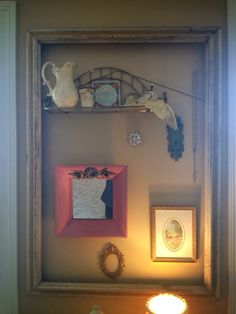 Use and old frame to hold treasures.
