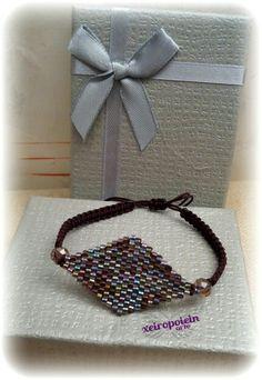 Βραχιόλι Ρόμβος κεντημένο στο χέρι με χάντρες miyuki ❤wooven bracelet Brick Stitch, Napkin Rings