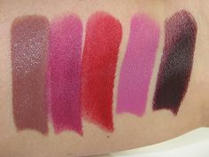 Urban Decay Matte Revolution Lipstick Swatches (1993, After Dark, Bad Blood, Bittersweet, Blackmail)