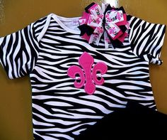 Zebra and Hot Pink Fleur De Lis Outfit  Bow by bearyuniquegifts, $29.99