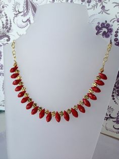 Red Beaded Necklace glass tear drops coral red by FancyFlairLtd, $30.00