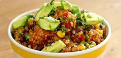 One Pan Mexican Quinoa | This is a delicious and healthy one pot dish you can throw together in less than 5 minutes.