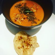 #soupoftheday #spiced #sweetpotato and #lentil with fried #garli #ginger and #curryleaf with a side of #homemade #roti #bread I #love #winter so much nothing like a #yummy warm bowl of #soup #delicious #instachef #instafood #instahappy #instasoup #chef #cheflife #chefinspired #chefofinstagram #vegetarian #vegan #glutenfree #dairyfree #janjuc by chefjamwafootty http://ift.tt/1X8VXis