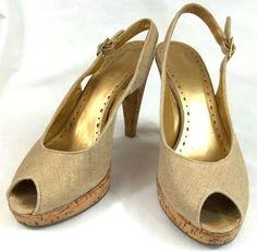 BCBG Shoes Womens Size 8 M Beige Fabric Peep Toe Slingback Heels #BCBG #Slingbacks
