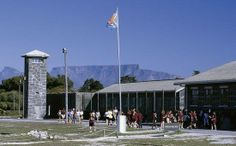 Robben Island prison, with Table Mountain in the background, Cape Town, Western Cape province, South Africa Photo Stuff To Do, Things To Do, Table Mountain, Cape Town, Cn Tower, Prison, South Africa, Island, History