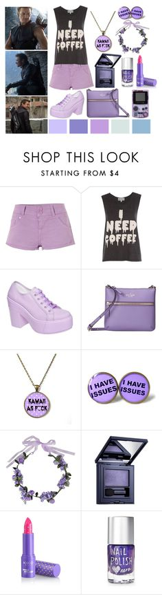 """Pastel Goth Hawkeye"" by ladydeathstrikex ❤ liked on Polyvore featuring Jane Norman, Wildfox, Kate Spade, cutekawaii, Boohoo, Estée Lauder, Aéropostale, pastelgoth, Hawkeye and clintbarton"