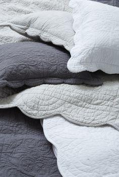 Laura Ashley Antilla White, Stone, Charcoal Bedcover KS $230.30