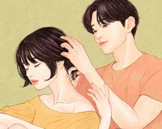 Fingertips on Behance Pencil Art Drawings, Art Sketches, Cute Couple Wallpaper, Cute Couple Drawings, Couple Art, Sweet Couple, Aesthetic Art, Art Inspo, Cute Couples