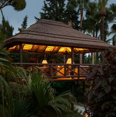 Beautiful thatched gazebo with lifted deck so no plants were harmed during construction. Gazebo Pergola, Outdoor Gazebos, Outdoor Structures, Function Hall, Tiki Hut, Outdoor Restaurant, Thatched Roof, Mediterranean Homes, Model Homes