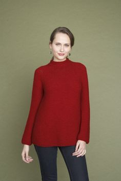 This classic knit pullover made with Wool-Ease is perfect for any occasion.  Reverse stockinette stitch?