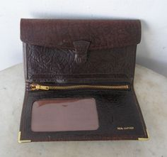 ENGLISH LEATHER WALLET Billfold Textured Burgundy Leather Brass Tipped Corners 10 Separate Compartments Unused Vintage English 1960-1980's by OnceUpnTym on Etsy