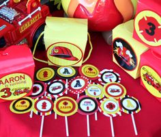 FIREMAN BIRTHDAY  CUPCAKE Toppers  Fire man by KROWNKREATIONS, $4.99