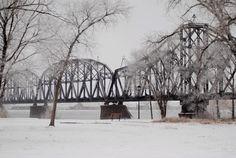 Missouri River bridge Missouri River, Cool Photos, Bridge, Snow, Photography, Outdoor, Outdoors, Photograph, Bridge Pattern