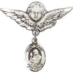 Sterling Silver Baby Badge with St. Clare of Assisi Charm and Angel w/Wings Badge Pin 1 1/8 X 1 1/8 inches *** Read more reviews of the product by visiting the link on the image. (This is an affiliate link and I receive a commission for the sales)