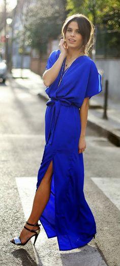 Zeliha's Blog: Blue Klein Long Dress long dresses, maxi dresses, blue fashion, color, blue vibe, cobalt blue, blue klein