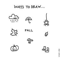 Studio Limon: Fall, leaves, pumpkin Doodle Sketch, Doodle Drawings, Easy Drawings, Doodle Art, Visual Note Taking, Visual Dictionary, Sketch Notes, Handwritten Fonts, Stick Figures