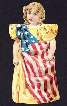 America Paper Doll - One of a series of 12 little paper dolls offered by the Barbour Brothers Company of New York, 1895 Vintage Illustration, Vintage Sewing Notions, America Girl, Doll Painting, Old Glory, Vintage Paper Dolls, Paper Toys, Cotton Thread, Lady