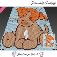 Friendly Puppy crochet blanket pattern; c2c, cross stitch; graph; pdf download; no written counts or row-by-row instructions by TwoMagicPixels, $2.99 USD