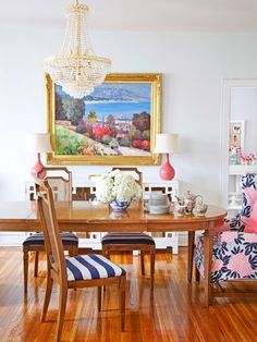 Cane back chairs Caitlin Wilson Design: Incredible dining room with gorgeous varnished hardwood floors. A traditional oval ...
