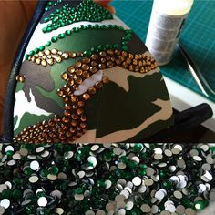 """Smoked Topaz"" (=brown) rhinestones are already attached. Now I work with ""Emerald"" (=green). I'm already totally in love with this competition suit myself! I think this bikini will be great for the pool, too. With a nice thong for the bottom... For more information please contact me: http://www.evitalana.com #camouflage #competitionbikini #posingbikini #physiquedivision #bodybuilding #bikinisuit #emerald #smokedtopaz #evitalana #evitalanasportsfashion"