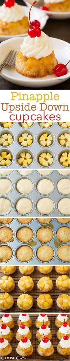 Pineapple Upside Down Cupcakes | #cupcakes #Down #Pineapple #Upside