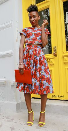 #MsRexti Florals, Ankara fashion, Full Skirt, Floral Top, Yellow Shoes
