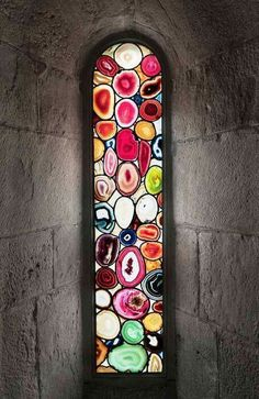 Ok, not exactly how I'd make it, but I'd like to use agate in a stained glass window.(Agate Windows in Grossmünster, Zurich by Polke Sigmar) Stained Glass Art, Stained Glass Windows, Mosaic Glass, Window Glass, Window Art, Window Film, Stone Mosaic, Leaded Glass, Murano Glass