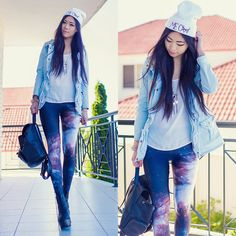St. Frock Anorak, Black Milk Clothing Galaxy Leggings, Yes Style Faux Leather Backpack, Front Row Shop Meow Beanie