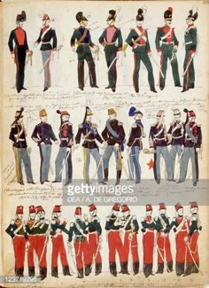 Stock Photo : Various Italian uniforms in common use around 1860 by Quinto Cenni, color plate