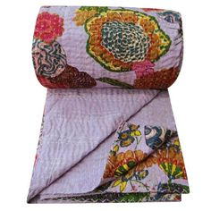 """Decorative Indian Quilt Floral Pattern Queen Size Gudri Kantha Stitch Purple Reverssible Bedspread 105"""" X 92"""" Inches"""