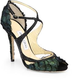 Jimmy Choo Kamelia Shimmer Feather Sandals in Green (BLACK GREEN)