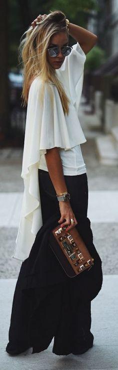 Nina Suess Black Flare Pants White Drape Top Fall Inspo
