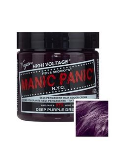 Treat yourself and your hair right with Manic Panic! The oh-so-gorgeous Deep Purple Dream is exactly what dreams are made of! Style: High Voltage Semi-Permanent Hair Dye Colour: Deep Purple Dream Volume: 118ml Duration: 4-6 weeks Conditions Hair, Re-sealable Tub For Longer Use, Comes With Instructions For Best Results: See Instructions Please Note: Results may vary depending on hair type, hair porosity & base colour We can only accept returns on cosmetics if they are returned in their ori... Permanent Hair Dye Colors, Temporary Hair Color, Semi Permanent Hair Color, Before I Forget, Hair Color Cream, Hair Porosity, Alternative Hair, Manic Panic, High Voltage