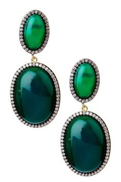 Double Dome Green Agate Hanging Earrings