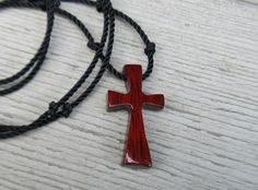 Men's Cross Necklace  South American Bloodwood  by TheLotusShop, $16.95
