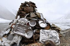The Gilkey Memorial to deceased climbers at the base camp of K2, known as the most dangerous peak to climb in the world. It was originally built for, and named after, Art Gilkey, in 1953