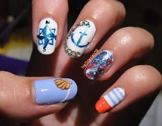 Nautical nails for the summer! :)