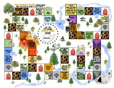 Hunger Games arena map board game activity. Have students create their own arena map board game (blanks & instructions included) or just play the one included to review events in the second and third parts of the novel.