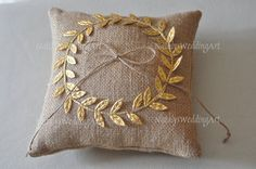 Burlap ring pillow Laurel Wreath Burlap Ring by NatalysWeddingArt