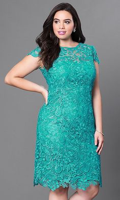Shop short plus-size lace party dresses with cap sleeves at PromGirl. Short semi-formal dresses in plus sizes and sheath wedding-guest dresses with sheer cap sleeves and bateau necklines. Formal Dresses Under 100, Plus Size Formal Dresses, Evening Dresses Plus Size, Evening Gowns, Short Dresses, Dresses Dresses, Party Dresses With Sleeves, Lace Party Dresses, Lace Dress With Sleeves