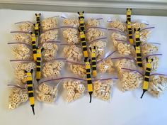 Bee snack cereal bag treats for Winnie the Pooh themed first birthday party
