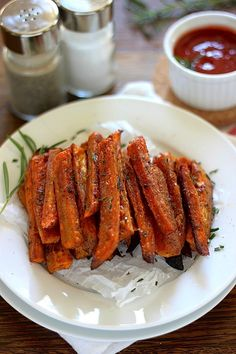 Rosemary and Sea Salt Sweet Potato Fries are extra crispy and flavorful - baked, not fried!