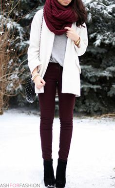 Plum and Burgundy jeans seem to come back around every fall/winter.