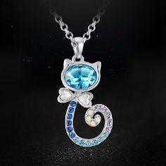 Latst Lovely Cat Shape Crystal Necklace