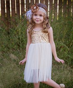 This Pale Gold Glitter Tank Dress - Infant, Toddler & Girls is perfect!  Shop #justcouture www.justcouturestore.com #zulilyfinds