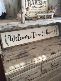 Large Welcome to Our Home farmhouse decor sign Welcome Home Signs, Wood Signs For Home, Home Decor Signs, Easy Home Decor, Wooden Art, Wooden Signs, Diy Apartment Decor, Farmhouse Bedroom Decor, Nautical Home