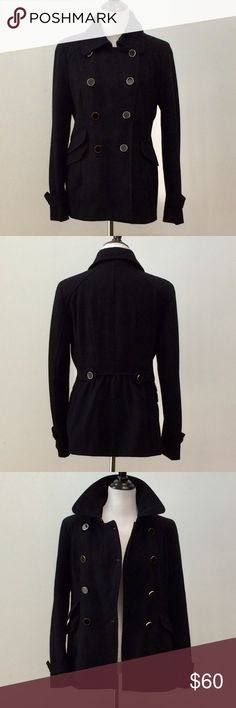 """Express Black Peacoat Size M Express black peacoat size medium. 4 button closure & eye hook closure on top by collar. High collar option. 3 pockets on right side. 2 pockets on left side. Decorative buttons on sleeves & back side.   56% Recycled Wool, 28% Polyester, 7% Acrylic, 6% Nylon, 3% Rayon. Lining 100% Polyester.   Measures approximately:   Bust = 38""""   Sleeves = 25""""  Length = 28""""  Coat was dry cleaned & ready to wear. In good to fair condition.   Open to offers.   Thanks! Express…"""