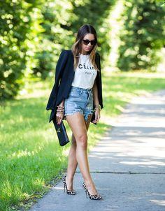 Shop this look on Kaleidoscope (blazer, shorts, clutch, pumps) http://kalei.do/Wu6PPIQDm8Sjstm8