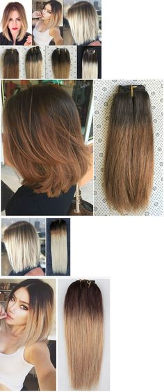Hair Extensions: Full Head Real Clip In Human Hair Extensions Ombre Hairpieces Brown Blonde -> BUY IT NOW ONLY: $46.99 on eBay!
