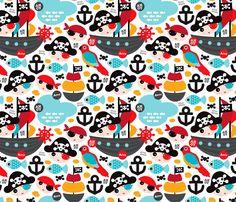 Baby Blanket Blue Pirates for boys - kallou - Spoonflower